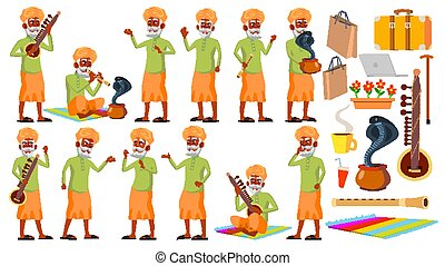 Indian Old Man Poses Set Vector. Hindu. Asian. Elderly ...