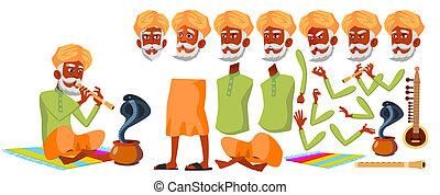 Indian Old Man Vector. Senior Person Portrait. Elderly ...