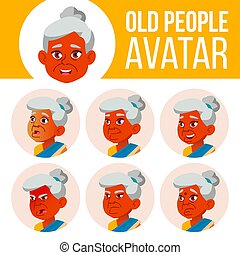 Indian Old Woman Avatar Set Vector. Face Emotions. Senior Person Portrait. Elderly People. Aged. Beauty, Lifestyle. Cartoon Head Illustration