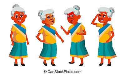 Indian Old Woman Poses Set Vector. Elderly People. Senior Person. Aged. Funny Pensioner. Leisure. Announcement, Cover Design. Isolated Cartoon Illustration