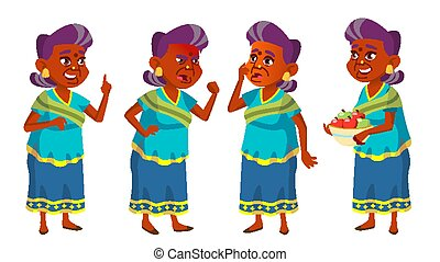 Indian Old Woman Set Vector. Elderly People. Hindu. Asian In Sari. Senior Person. Aged. Funny Pensioner. Leisure. Postcard, Announcement, Cover Design. Isolated Cartoon Illustration