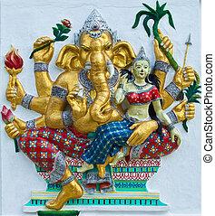 Indian or Hindu ganesha God Named Udhawa Ganapati at temple...