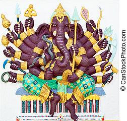 Indian or Hindu God Named Vira Ganapati at Wat Saman, Chachoengsao, Thailand