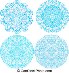 Indian ornament, kaleidoscopic floral pattern, mandala. Set...
