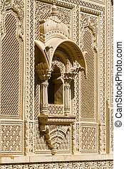 Indian ornament on wall of palace in Jaisalmer fort, India....
