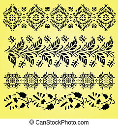 Indian ornaments - Vector Indian ornaments on yellow