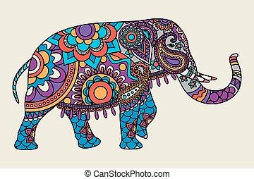 Indian ornate elephant colored illistration