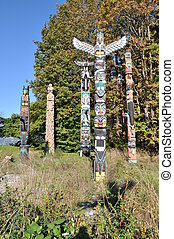 Indian painted totem poles