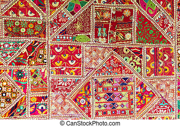 Indian patchwork background - Section of a traditional...
