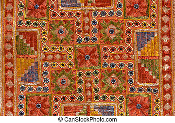 Indian patchwork carpet in Rajasthan, Asia