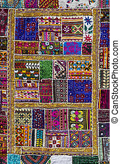 Indian patchwork carpet in Rajasthan. India