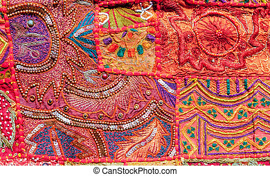 Indian patchwork carpet, Rajasthan, India, Asia
