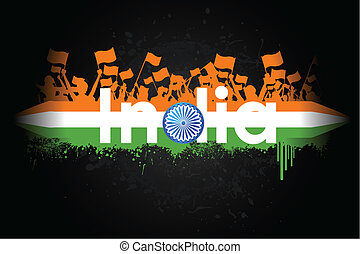 Indian Patriotism - illustration of Indian citizen waving ...