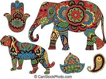 Indian patterns for design - elephant, tiger, Butt and...