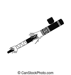 Indian peace pipe icon. Black simple style