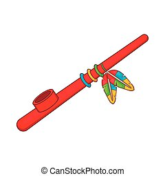 Indian peace pipe icon, cartoon style
