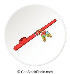 Indian peace pipe icon. artoon illustration of indian peace pipe iconvector icon for web