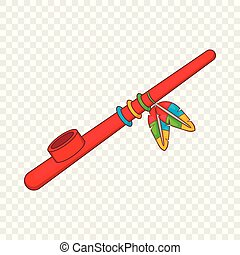 Indian peace pipe icon in cartoon style on a background for any web design