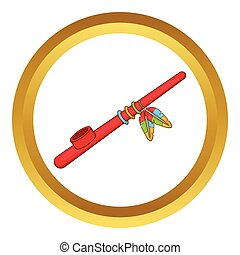 Indian peace pipe vector icon in golden circle, cartoon style isolated on white background