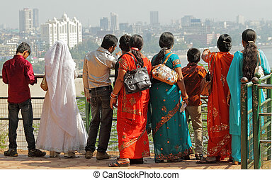 Indian people and Mumbai - Indian people admiring panoramic...