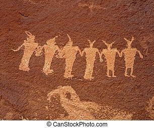 Ancient Indian Petroglyphs along the Colorado River in Utah.
