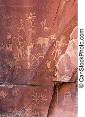 Indian petroglyphs, Newspaper Rock State Historic Monument, Utah