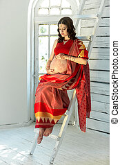 Indian picture on woman decorated with indian mehandi...