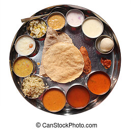 Indian plate meals with chapatti, rasam, sambar, dal and other curries