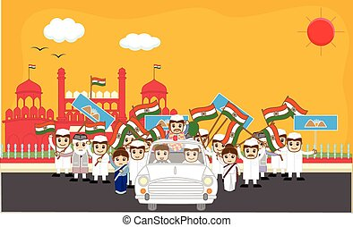 Indian Political Characters Rally in Front of Red Fort...