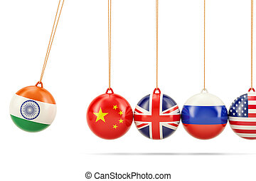 Indian political conflict with China concept. 3D rendering