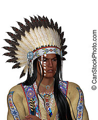Indian Portrait - face indian with war bonnet - isolated on...