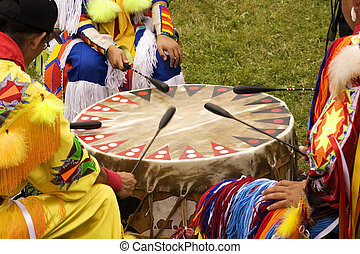 Indian Pow Wow Drum - Indians around a drum at a Pow Wow ...