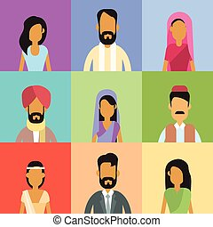 Indian Profile Avatar Set Business People Portrait