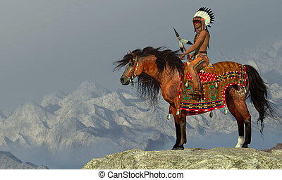 Indian Proud Eagle - An American Indian sits on his...