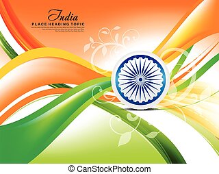 indian republic day wave abstract background with floral