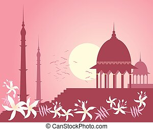 indian rose sunset - an illustration of a city skyline in...