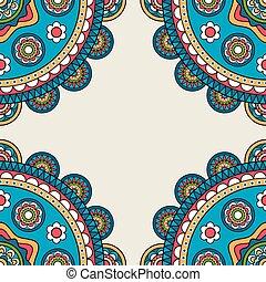 Indian rossetes doodle hippie frame