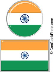 Indian round and square icon flag.