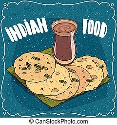 Indian round flatbread and masala chai tea - Traditional ...