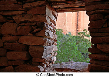 indian ruin doorway - view out of the doorway of an Indian...
