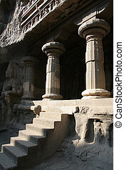 Indian ruins - Entrance into an ancient Indian temple carved...