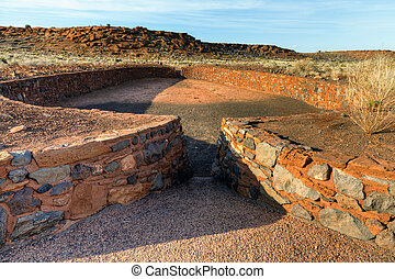 Indian ruins - The ball court at Wupatki National Monument ...