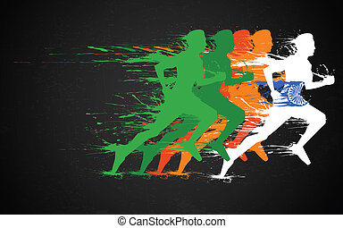 illustration of runners in grungy Indian tricolor