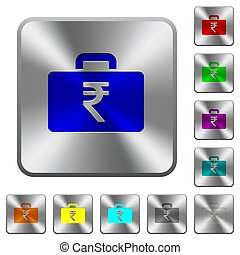 Indian Rupee bag rounded square steel buttons