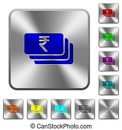 Indian Rupee banknotes rounded square steel buttons