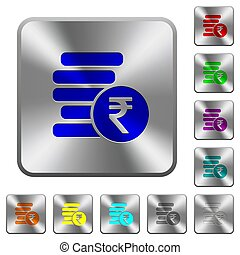 Indian Rupee coins rounded square steel buttons