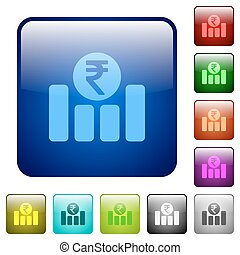 Indian Rupee financial graph color square buttons