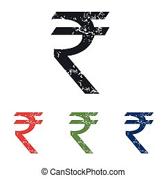 Indian rupee grunge icon set