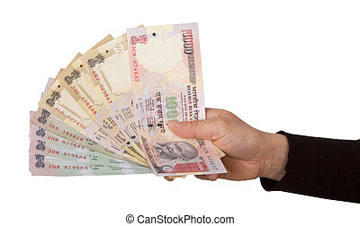Indian rupee notes or money in hand