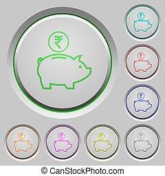Indian Rupee piggy bank push buttons